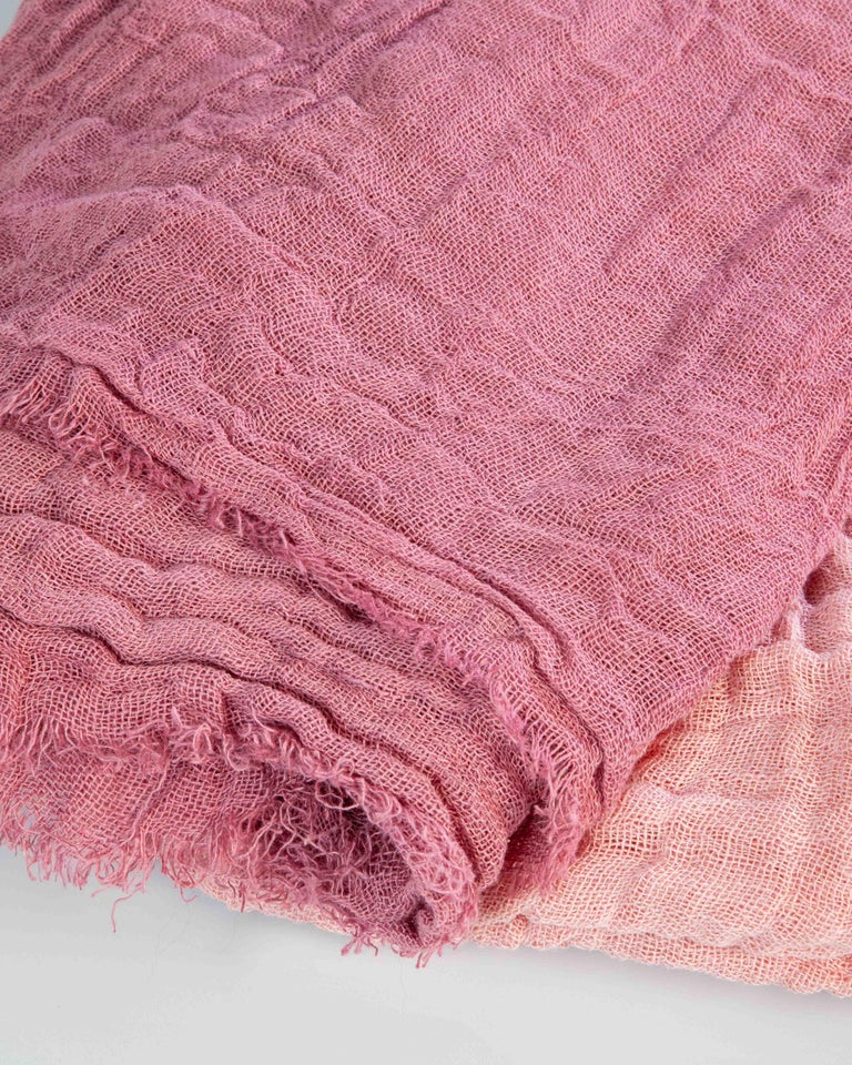 Hand Painted Open-Weave Linen Throw in Pink Tones, in Stock For Sale 7