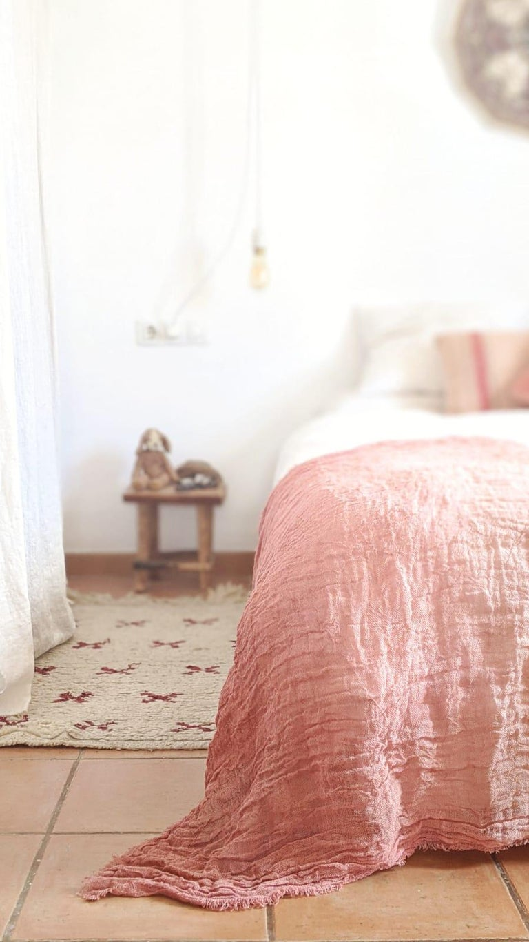 Spanish Hand Painted Open-Weave Linen Throw in Pink Tones, in Stock For Sale