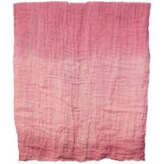 Hand Painted Open-Weave Linen Throw in Pink Tones, in Stock