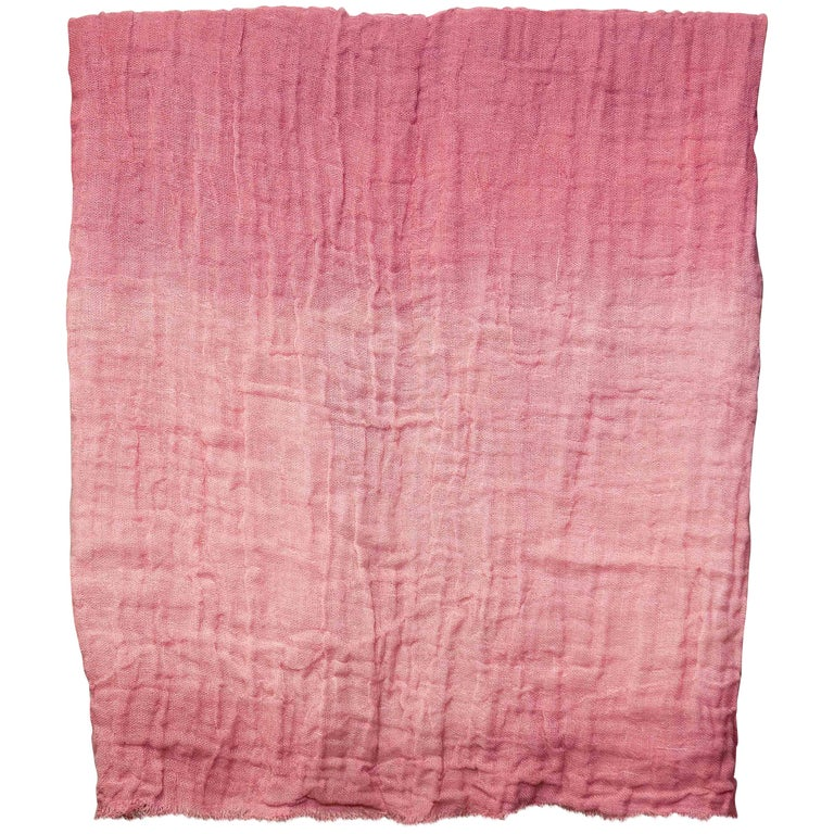 Hand Painted Open-Weave Linen Throw in Pink Tones, in Stock For Sale