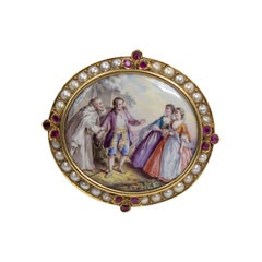 Hand Painted Painting on Porcelain from the 1800s in 18 Karat Gold Brooch