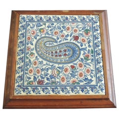 Hand Painted Paisley Ceramic Persian Tile Trivet Inset in Wooden Frame