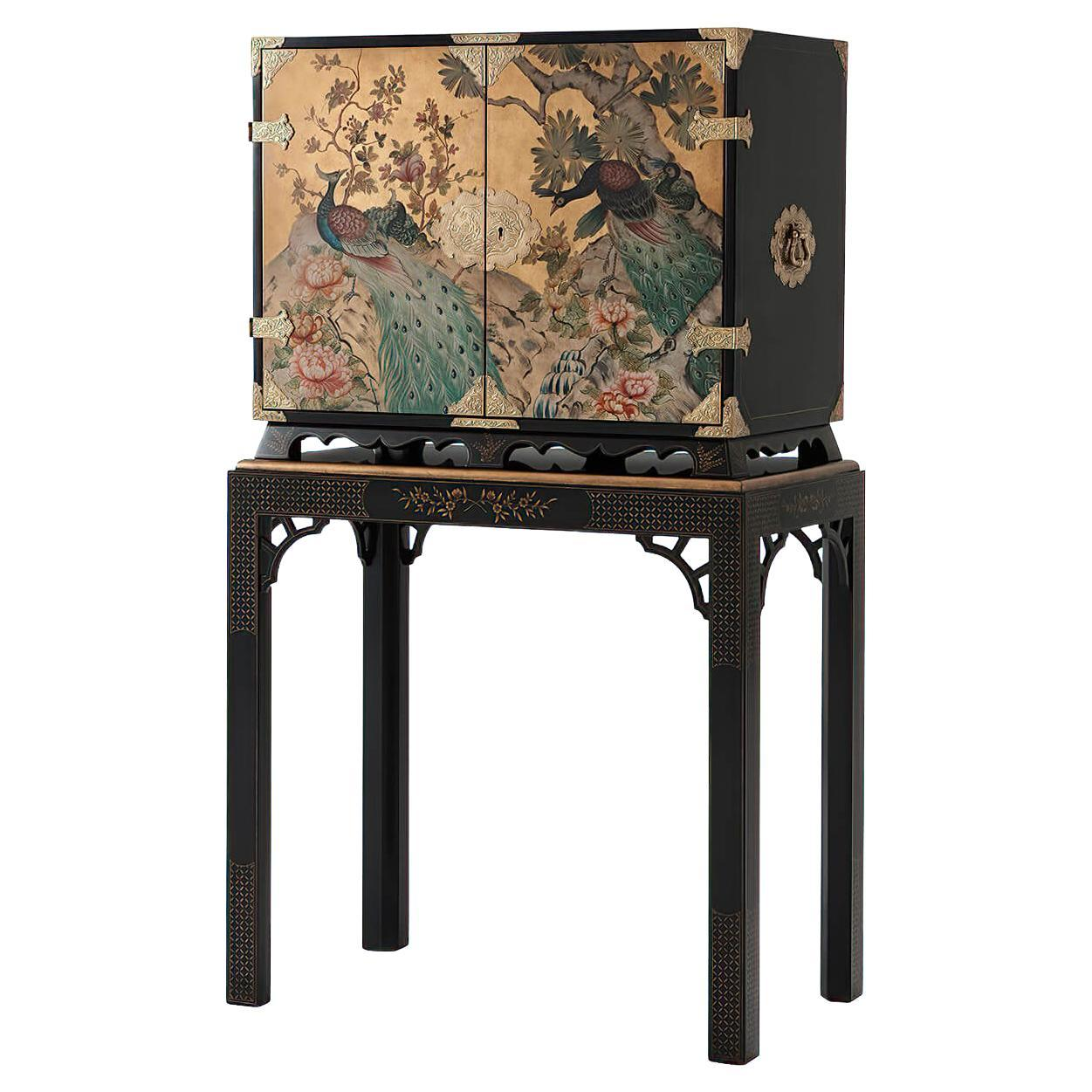Hand Painted Peacock Bar Cabinet