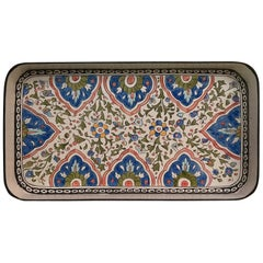 Hand Painted Persian Small Iron Tray Blue