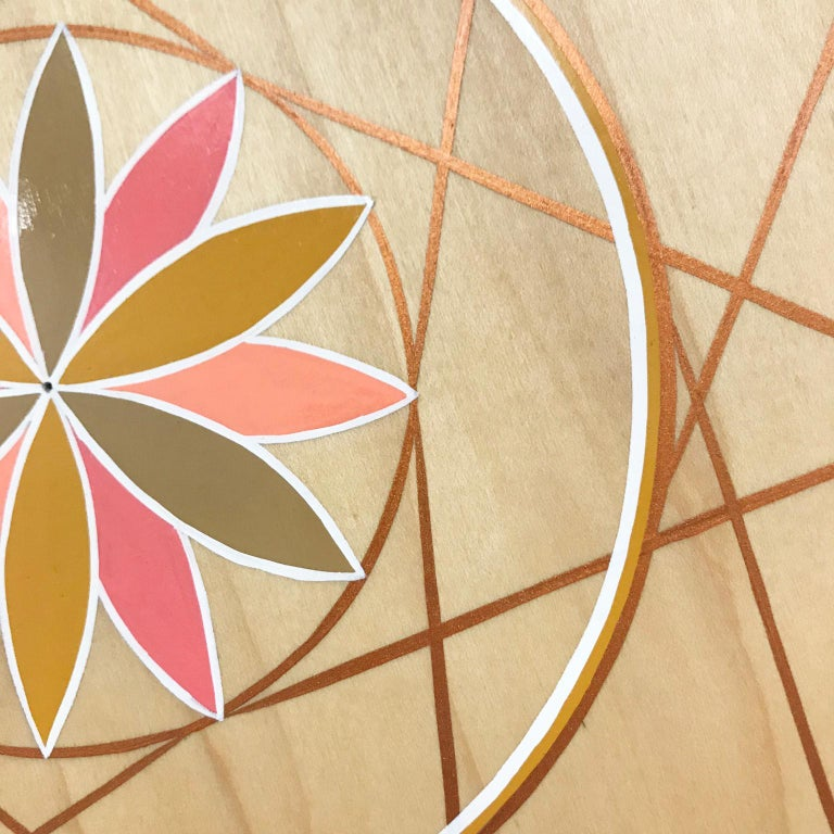 Modern Hand-Painted Pink and Gold Sacred Geometry Wood Wall Hanging by Scott Chasse For Sale