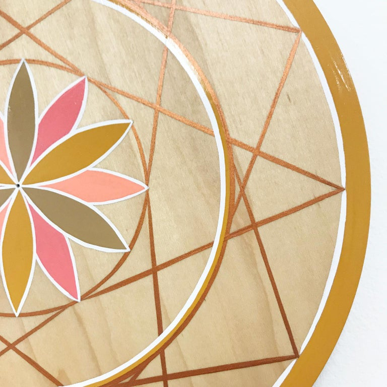 American Hand-Painted Pink and Gold Sacred Geometry Wood Wall Hanging by Scott Chasse For Sale