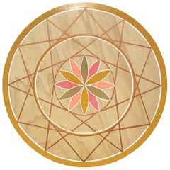 Hand-Painted Pink and Gold Sacred Geometry Wood Wall Hanging by Scott Chasse