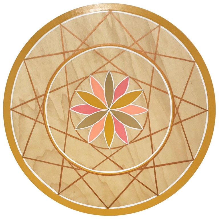 Hand-Painted Pink and Gold Sacred Geometry Wood Wall Hanging by Scott Chasse For Sale