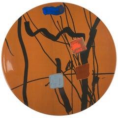 Hand Painted Platter with Unique Contemporary Design, Platter 36