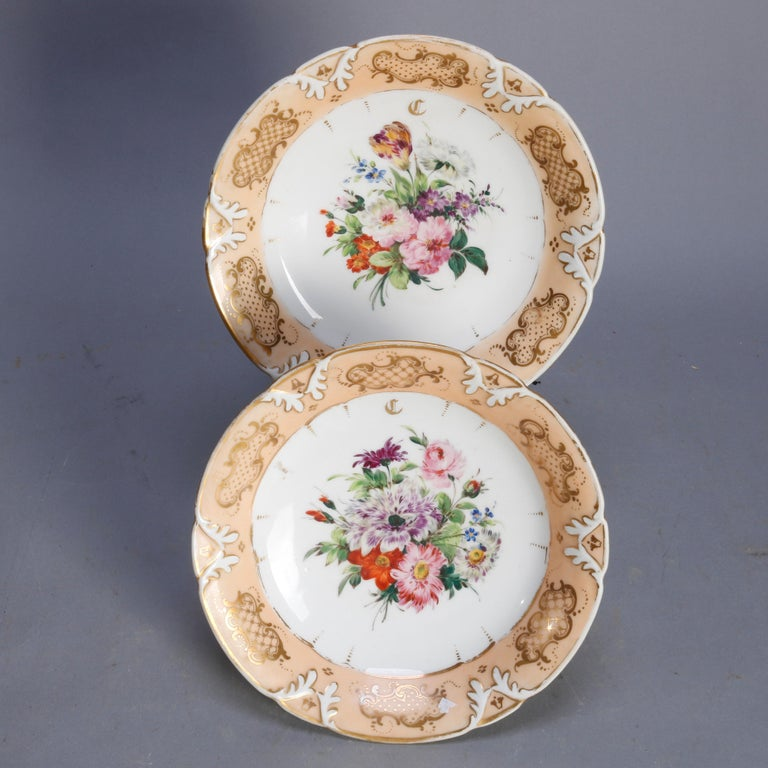 Victorian Hand Painted Porcelain 12 Piece Dessert Set, 19th Century For Sale