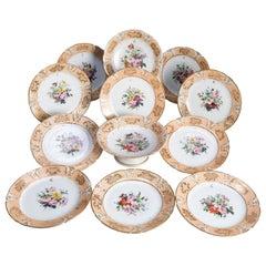 Hand Painted Porcelain 12 Piece Dessert Set, 19th Century