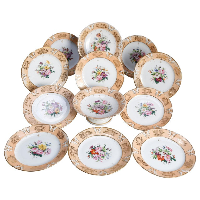 Hand Painted Porcelain 12 Piece Dessert Set, 19th Century For Sale