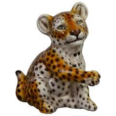 Hand Painted Porcelain Italian Leopard Sculpture , 1970s