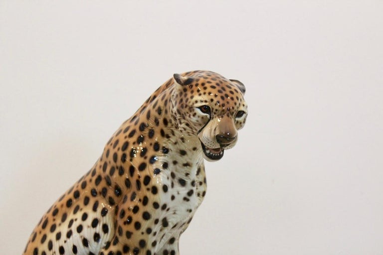 Hand Painted Porcelain Leopard Sculpture By Ronzan Italy