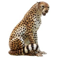Hand-Painted Porcelain Leopard Sculpture by Ronzan, Italy, 1970s