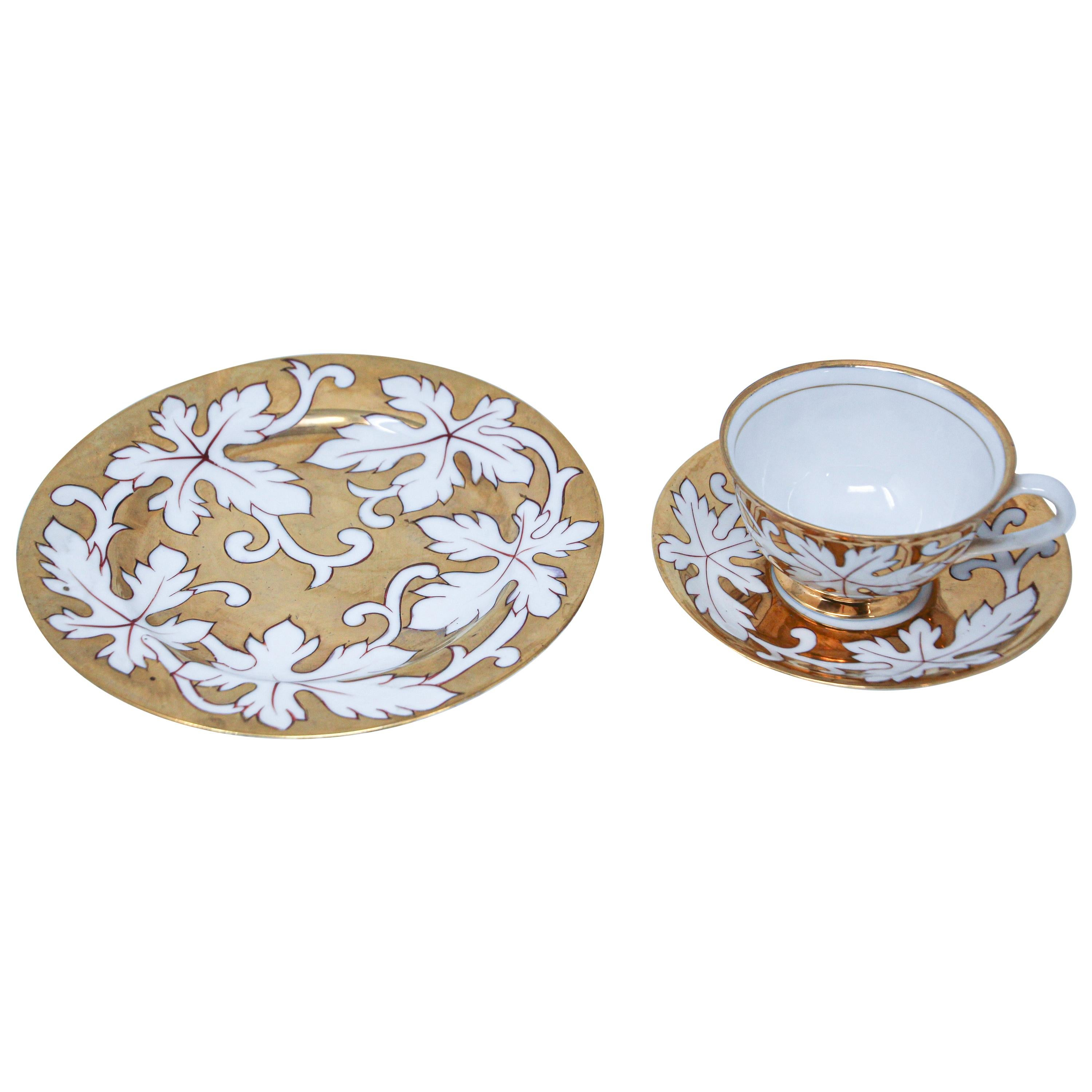 Hand Painted Gilt Porcelain Tea, Coffee Cup with Desert Plate