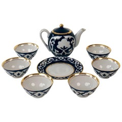 Hand Painted Porcelain Tea Set from Central Asia in Kobalt Blue & Gold