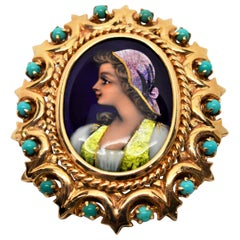 Hand Painted Portrait Yellow Gold French Brooch Pin