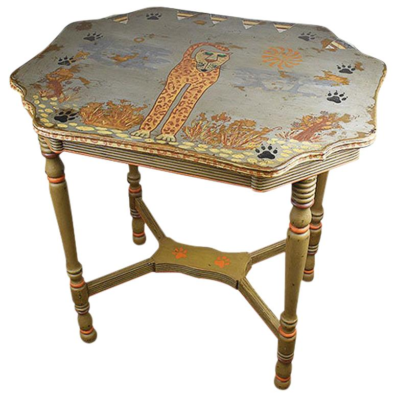 Hand Painted Portuguese Side Table or Drinks Table with Feline Motif