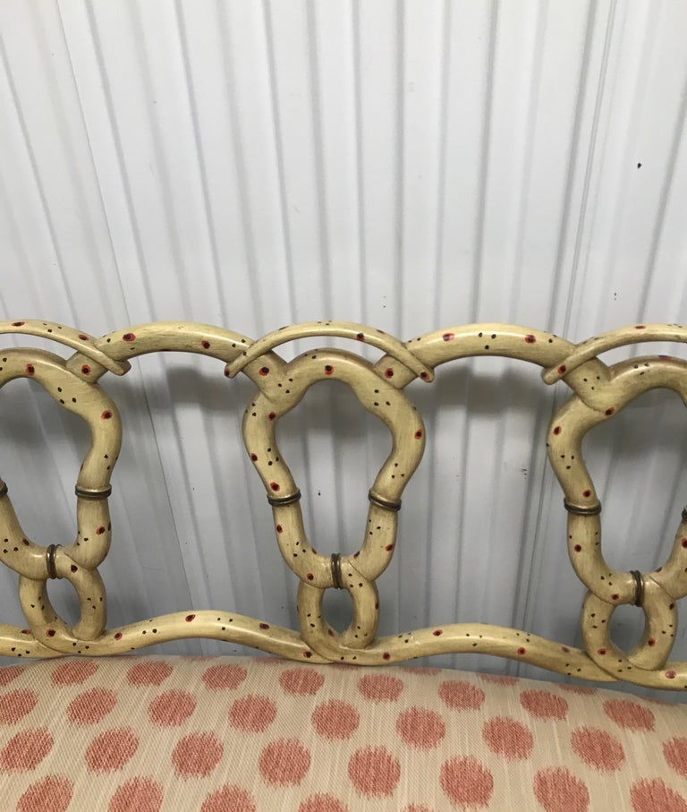 20th Century Hand Painted Pretzel Back Settee For Sale