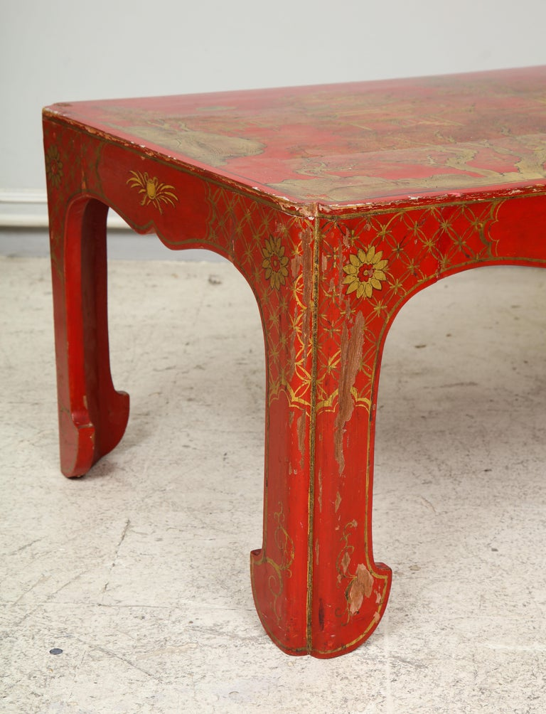 Hand Painted Red Lacquered Chinoiserie Cocktail/Coffee Table For Sale 4