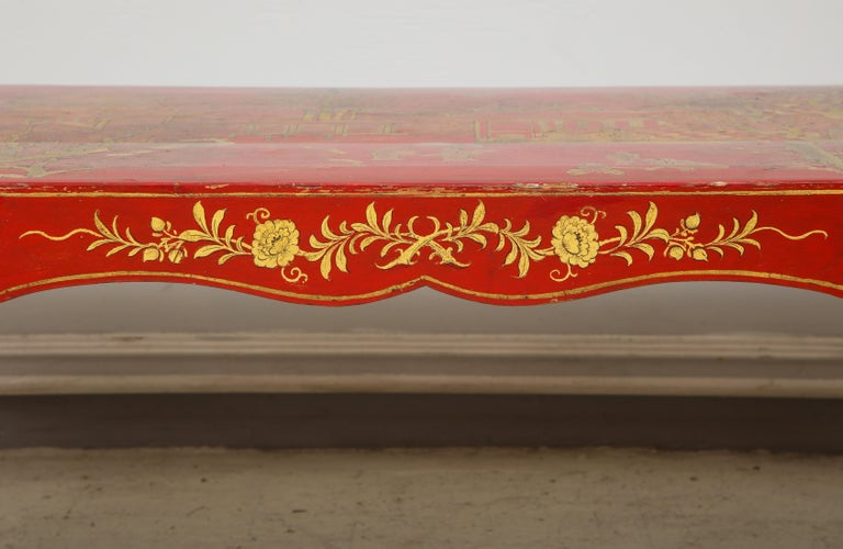Hand Painted Red Lacquered Chinoiserie Cocktail/Coffee Table For Sale 5