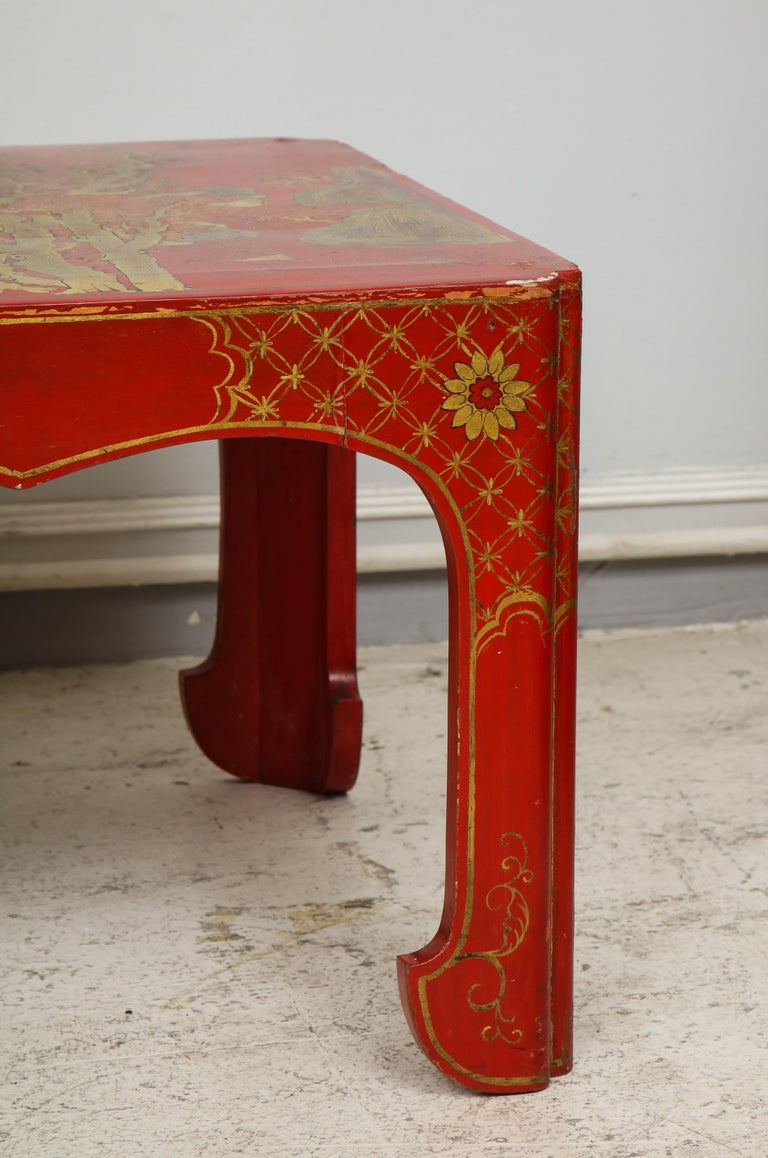 Hand Painted Red Lacquered Chinoiserie Cocktail/Coffee Table For Sale 6