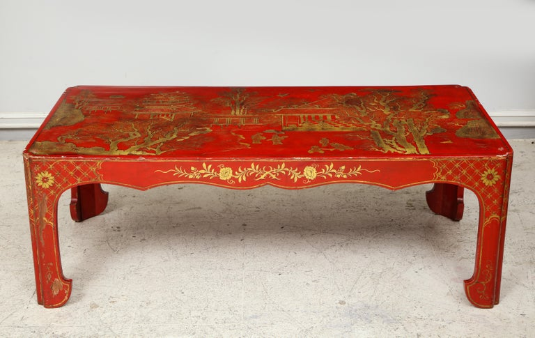 Hand painted red lacquered chinoiserie cocktail/coffee table.