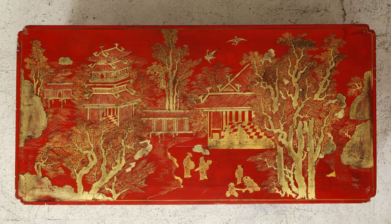 French Hand Painted Red Lacquered Chinoiserie Cocktail/Coffee Table For Sale