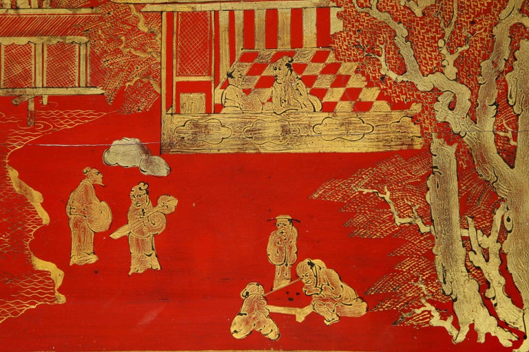 Hand Painted Red Lacquered Chinoiserie Cocktail/Coffee Table For Sale 1