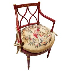 Hand Painted Regency Style Armchair with Needlepoint Seat