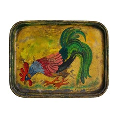 Hand Painted Rooster Tray, 19th Century
