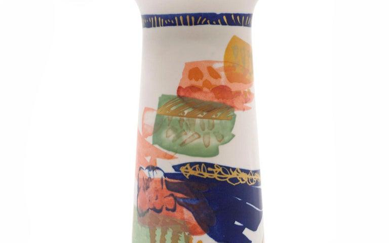 German Hand Painted Rosenthal Vase in Multicolors For Sale
