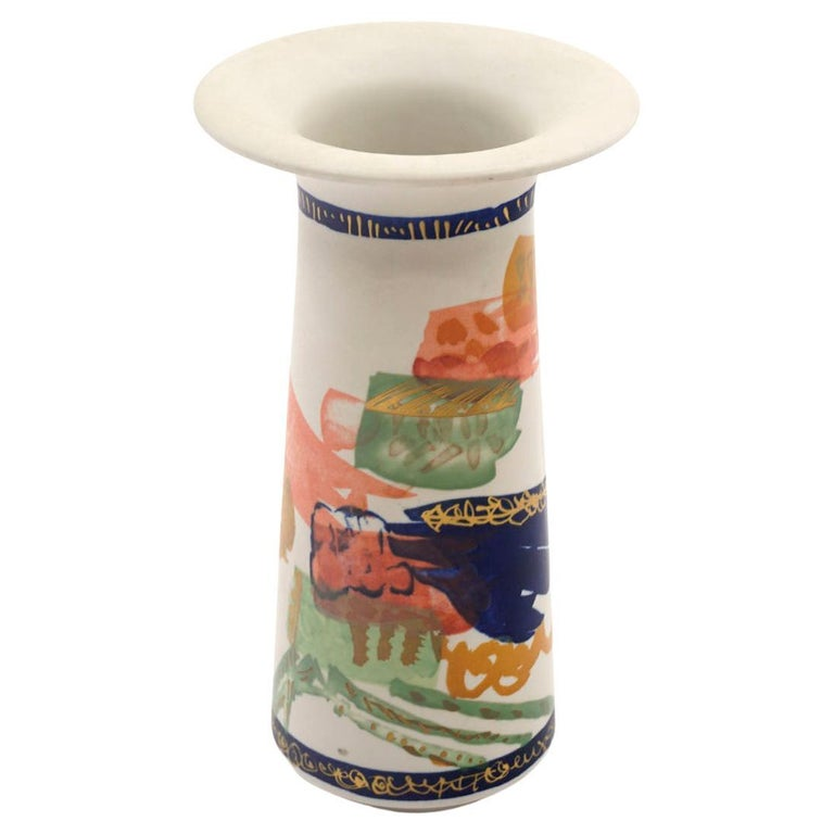 Hand Painted Rosenthal Vase in Multicolors For Sale