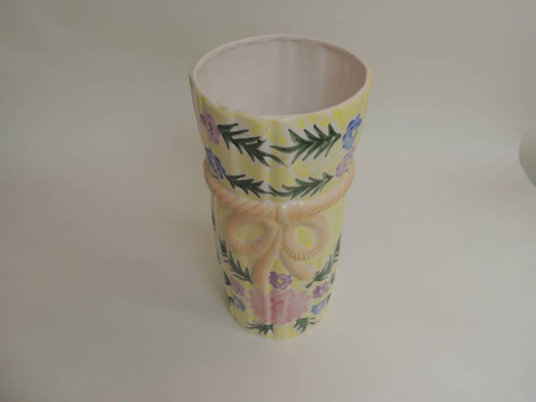 Bohemian Hand-Painted Round Palm Beach Chic Ceramic Umbrella Stand For Sale