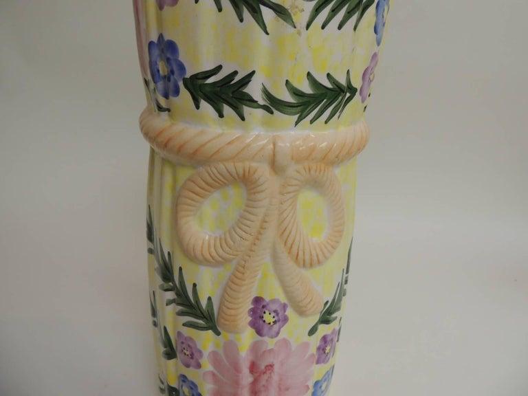 Italian Hand-Painted Round Palm Beach Chic Ceramic Umbrella Stand For Sale