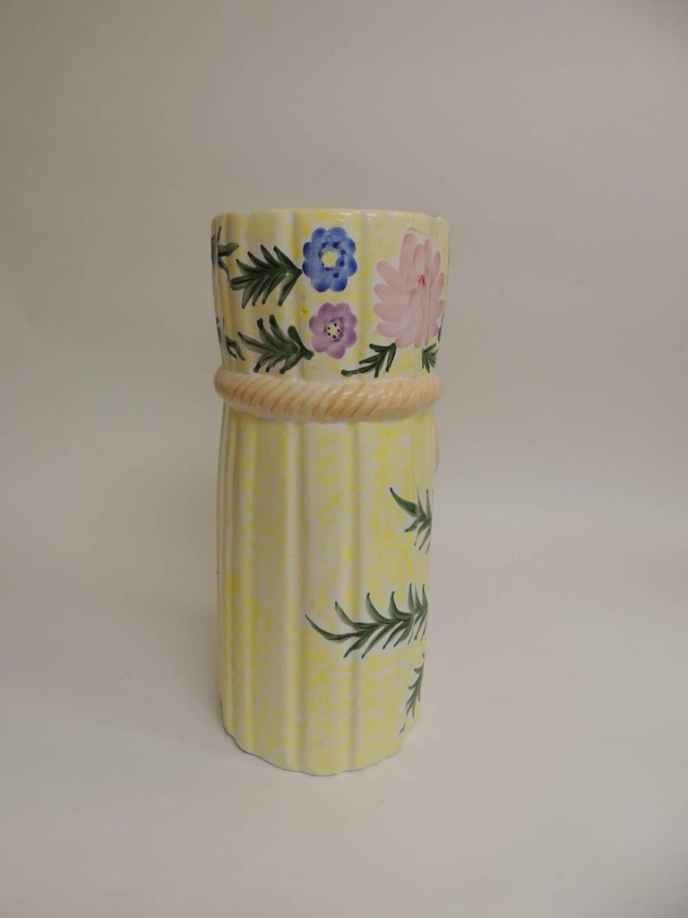 Hand-Crafted Hand-Painted Round Palm Beach Chic Ceramic Umbrella Stand For Sale
