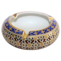 Hand-Painted Round Porcelain Ashtray