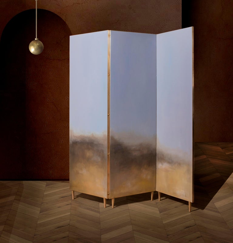 German Hand Painted Screen, Jan Garncarek and Ewelina Makosa For Sale
