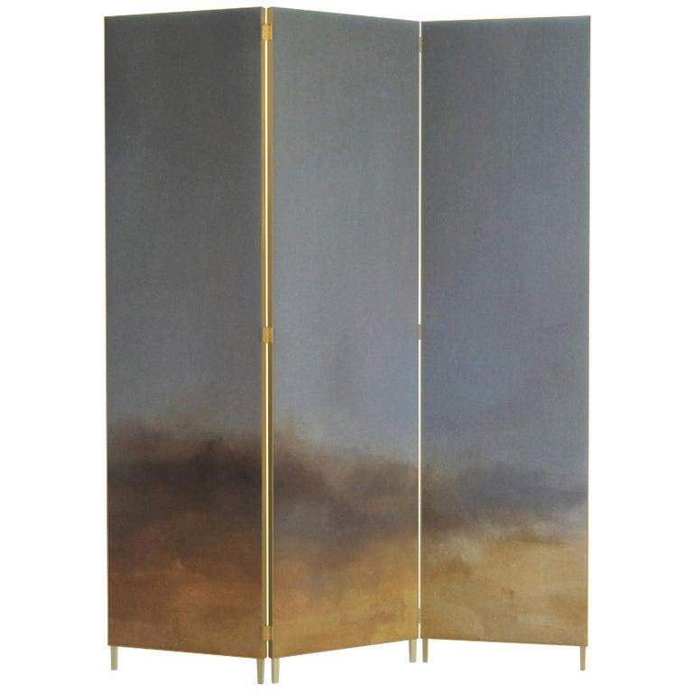 Hand Painted Screen, Jan Garncarek and Ewelina Makosa For Sale
