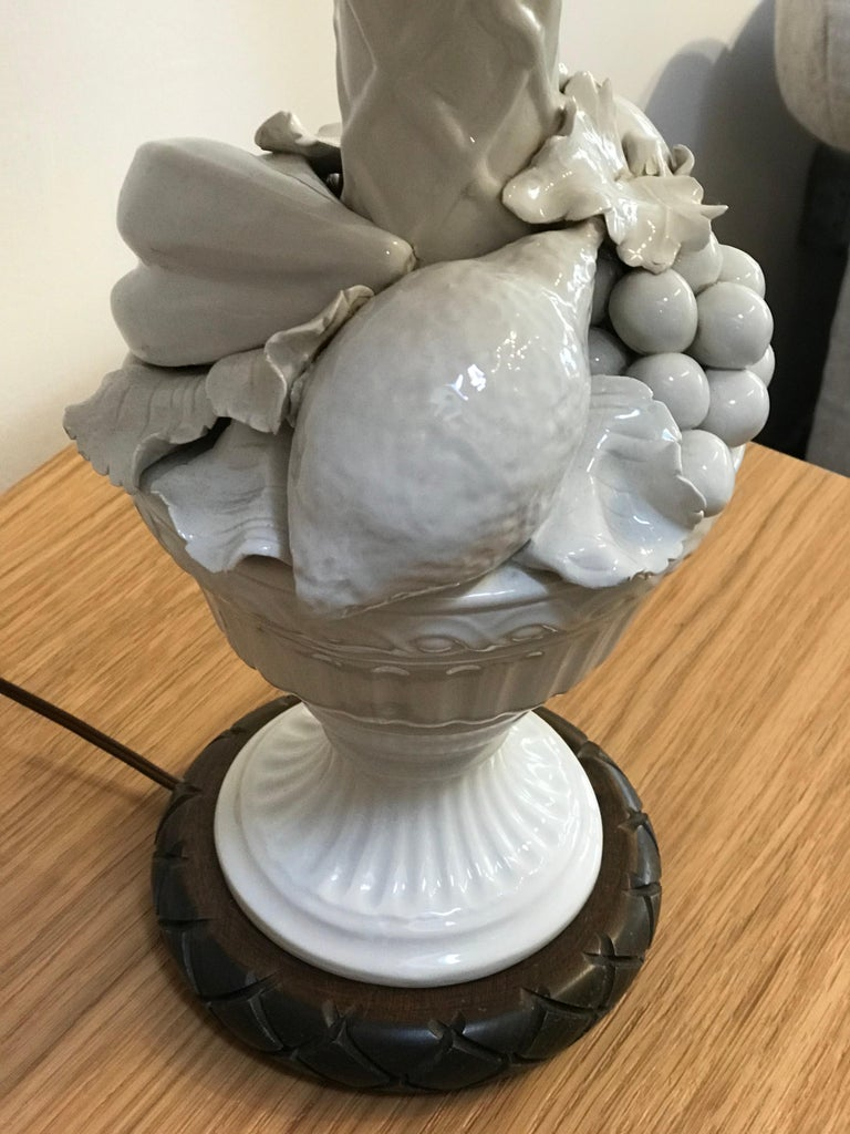 Hand Painted Shade by RF. Alvarez on 1970s Blanc De Chine Topiary Table Lamp  In Good Condition For Sale In Los Angeles, CA