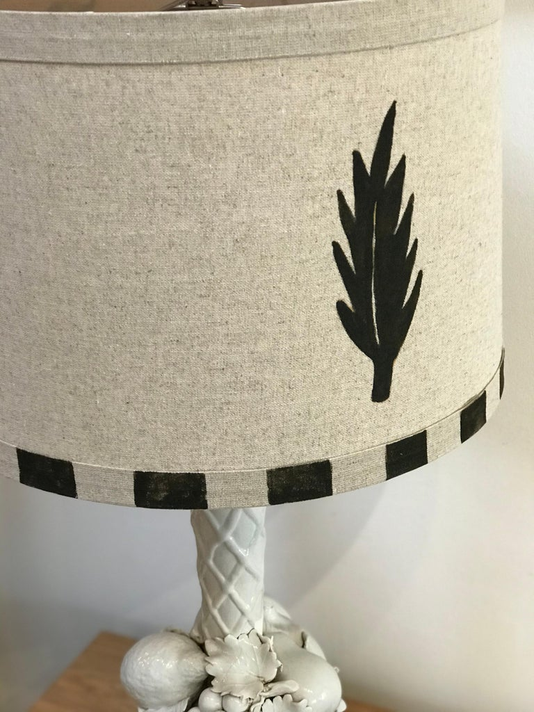 20th Century Hand Painted Shade by RF. Alvarez on 1970s Blanc De Chine Topiary Table Lamp  For Sale