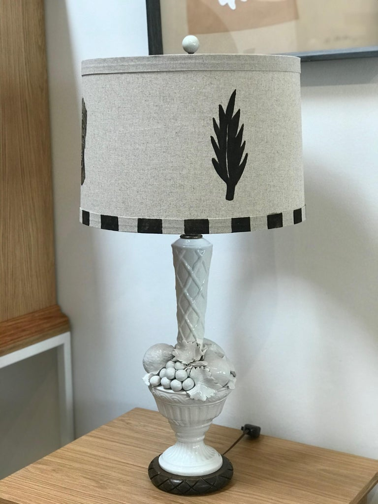Hand Painted Shade by RF. Alvarez on 1970s Blanc De Chine Topiary Table Lamp  For Sale 1