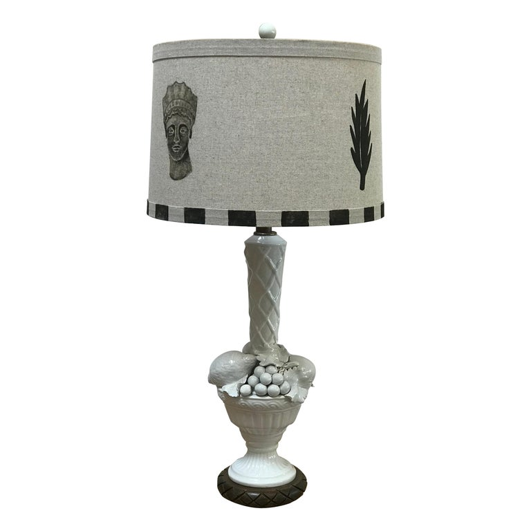 Hand Painted Shade by RF. Alvarez on 1970s Blanc De Chine Topiary Table Lamp  For Sale