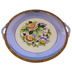 Hand Painted Shallow Noritake Blue Bowl Floral Center Design
