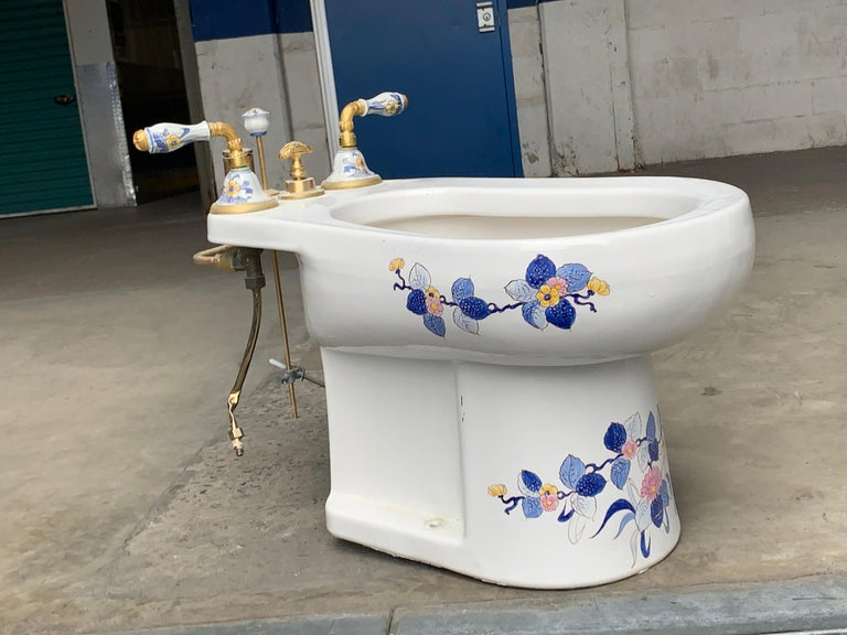 Hand painted Sherle Wagner porcelain chinoiserie 'Blue Mum' bidet, water closet. Blue mum pattern still available at Sherle Wagner but this gorgeous sculptural low-slung one piece bidet. Comes with original gold and hand painted porcelain handle.