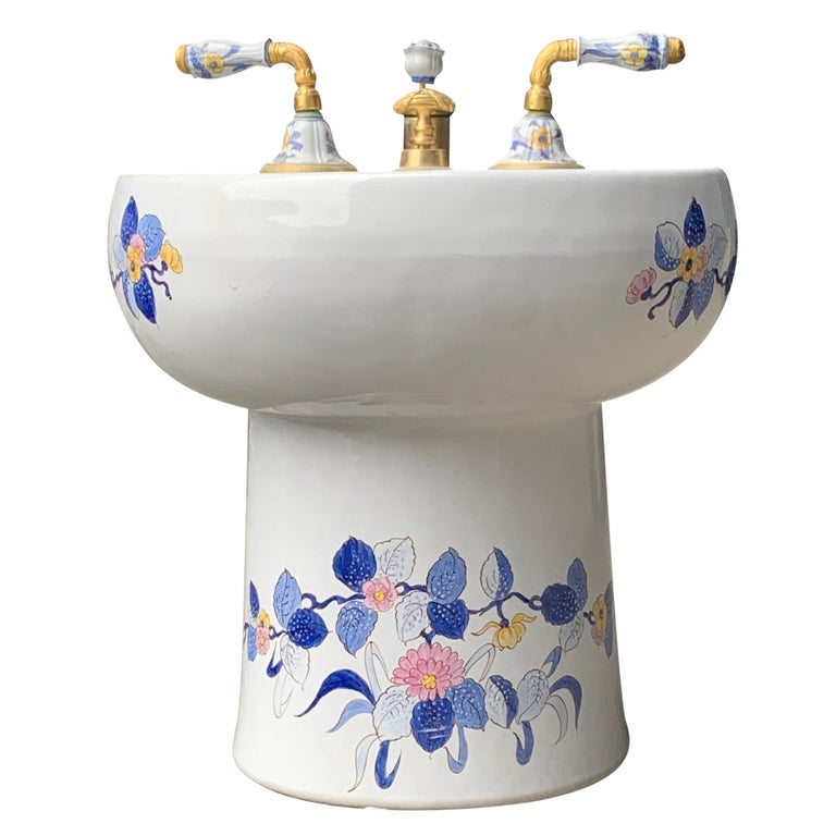 Hand Painted Sherle Wagner Porcelain Chinoiserie 'Blue Mum' Bidet Water Closet For Sale