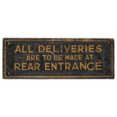 Hand Painted Sign with Gold Lettering, America, circa 1920