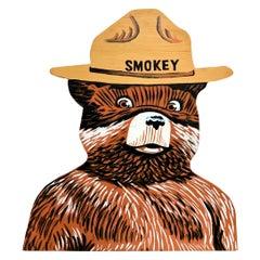 Hand Painted Smokey the Bear Wood Bust