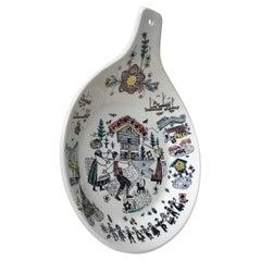 Hand-Painted Stavangerflint Dish by Inger Waage, 1950s